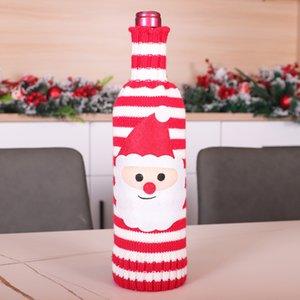 navidad cubierta de la botella de tejer de santa muñeco de nieve alces vino del champán cubierta de la botella Feliz Navidad botella de punto jersey decoración KKB2728