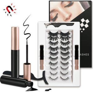 Reusable 10 pairs Magnetic Eyelashes and 2 Tubes of Magnetic Eyeliner Kit Upgraded 3D Eyelashes Kit With Tweezers Inside 3 sets