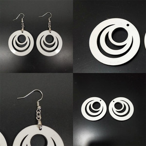Sublimation Blank Jewelry Earrings Two Sided Hollowing Out Round Woodiness Ear Pendants Fashion Women Stud Earring Factory Direct 2 25bd F2