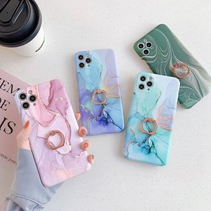 Marble Texture Finger Ring Holder Case For iPhone 12 Pro 11Pro XR X XS Max 7 8 Plus SE 2020 Shell Soft IMD Phone Cover