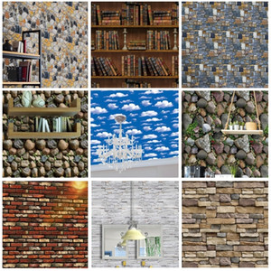 PVC Waterproof Self Adhesive Wallpaper Roll 3D Wood Grain Stone Brick Wallpapers For Living Room Bedroom Wall Papers Home Decor 201009