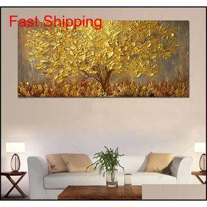 Большие ручные окрашенные деревья ножей живопись маслом на холсте палитра золотые желтые картины современное абстрактное искусство стены Qylxkl Packing2010
