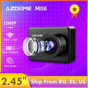 """AZDOME M08 1080P Dash Cam Super Capacitor 2.45"""" Camera IPS auto con WiFi WDR Sony Sensore Car DVR visione notturna del registratore dash cam wVOq #"""