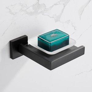 와코 럭셔리 현대 비누 접시 홀더, 벽 마운트 젖빛 유리 접시 스테인레스 스틸 홀더 욕실 랙 - 매트 블랙
