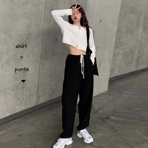 UDN01 White round cardigan short knitted neck high waist slimming Suit Mop straight Suitvertical suit leg mop pants two-piece wide women's su