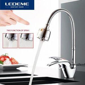 Tubo LEDEME grifo de la cocina universal 3 tipos de hardware de latón Water Way Tubo de salida cuenca grifo de fregadero de fontanería L4302-B T200424