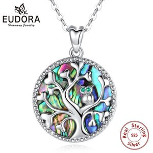 925 Sterling Silver Tree Life Pendant Necklace Mother of Eudora Pearl Wise Owl Pendants Fine Jewelry for Women Party Gift D6