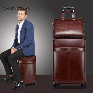 Chupermore retrò PU in pelle rotolamento deposito bagagli spinner uomini business valigia ruote 16 pollici cabina carrello talley password LJ201118