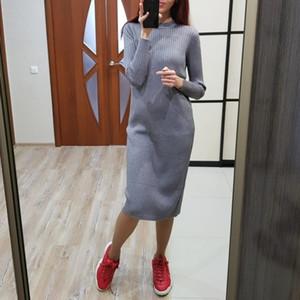 GIGOGOU Women Long Knit Straight Autumn Winter O Neck Ribbed Tunic Thick Warm Pullover Female Jumper Top Maxi Dress