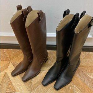 Retro Square Toe Strange Strange Heel Heel Heel Boots Black Brown High Stivali Inverno Ladies1