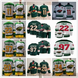 2021 Reverse Retro Minnesota Wild Hockey 97 Kirill Kaprizov 11 Zach Parise 22 Kevin Fiala 24 Matt Dumba Ryan Suter Jerseys 화이트 그린