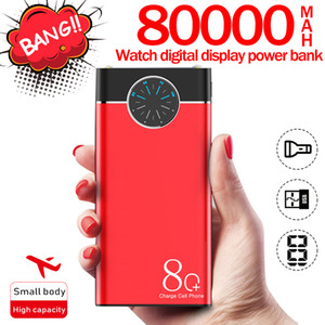80000mAh Power Bank Portable Phone Charger Large-Capacity LCD Digital Display LED Outdoor Travel for Smartphones Watch PowerBank