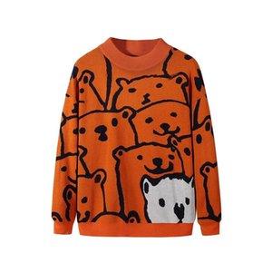 KKSKY Triko Adam Karikatür Bear Kış Erkek Giyim Moda Uzun Kollu Örme Kazak Süveter Homme 2020 Yeni Pamuk Coat Homme