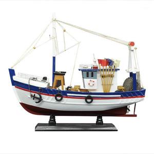 Декоративные объекты Figurines Luckk 38 см Белая рыбацкая лодка судна модель 3D деревянные монтажные парусники игрушки для дома аксессуары для украшения современный