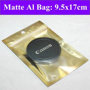 200pcs lot 9.5 x 17cm (3.7'' * 6.7'') 160mic Golden Matte Foil Bag,Flat Zip Lock Bag With Round Hole,Resealable Retail Bages