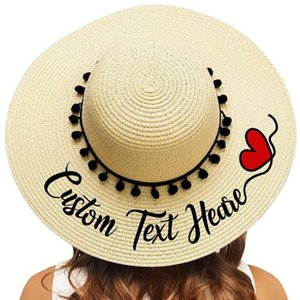 Embroidery Personalized Custom Your Name Text Text Women Sun Hat Large Brim Straw Hat Outdoor Beach hat Black Pompon Caps 201027