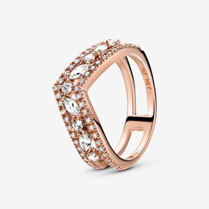 2020 Novo 925 Prata Sparkling Marquise double wishbone Anel Fit Pandora Jóias Wedding Engagement Amantes da moda anel