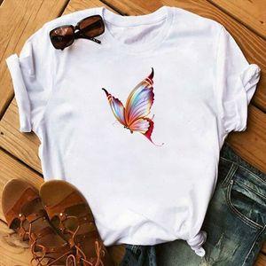 Summer T Shirt Butterfly Print Woman Tshirts Fashion Casual Short Sleeve Tee Shirt Graphic Tops Female T shirt Clothes