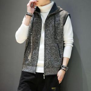Autumn Men's Sleeveless Knitted Sweater Plus Velvet Vest Hooded Warm Vest Casual Sweater Mens
