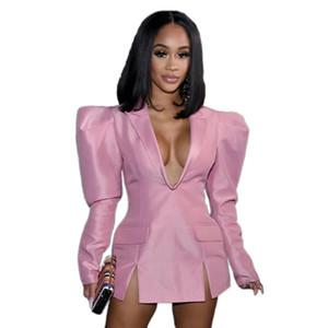 Frauen Designer-Blazer-Kleid Herbst tiefer V-Ausschnitt Solid Color Kleider Art und Weise beiläufiger Mantel Damen Kleidung