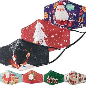 20pcs lot Christmas 3D printing Masks Santa Claus Printed cotton Masks Fashion cartoon cotton children Mask New Year Decoration