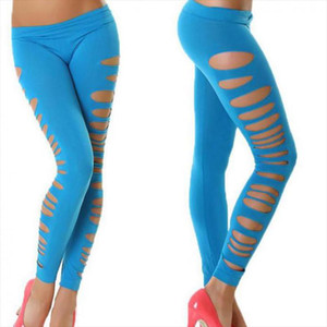 Hot High Quality Sexy Hollow Hole Side Fluorescent Candy Color Leggings Womens Club Pants Plus Size Legging Punk Leggins Summer
