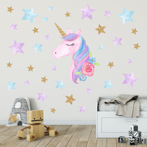 Unicornio unicornio calcomanías de pared etiqueta de la pared de la decoración del arco iris colores de pared Adhesivos de regalo de Navidad de cumpleaños para el dormitorio de las muchachas de los niños decoración OWA2046