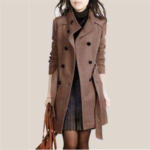 Damen-Jacken Amp Mäntel Frauen arbeiten losen Winter warm lange Hülsen-Knopf-Knopf-Jacken-Mantel mit Gürtel Feminine Mantel