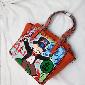 Hand painted ART ALEC Monopoly RICH Money Graffiti printing high quality Luxury Genuine leather bags for women 2020 handbag