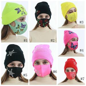 Bonnets d'hiver Casquettes avec masque facial Sport Tricot Cristal Party Chapeaux Épaissir Casual Casual Putterfly Imprimer Caps Caps Casquettes GGA3839-3
