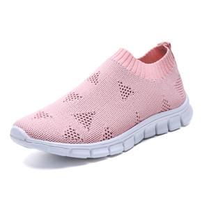 Lucyever Mulheres Primavera Outono Sneaker malha malha vulcanizada sapatos Casual Slip em Calçados de passeio macio Apartamento Zapatos de Mujer C1103