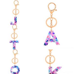 BVVI Chakra Hexagon Prism Jewelry Pendant Resin Style 26 Letter Keychain English Natural Key Keychain Stone Ring Handbag Ship European
