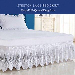 Enipate Volantes de encaje color puro falda de la cama elástica de alta calidad suelta cama delantal falda gemelo completa reina extragrande decoración l7TJ #