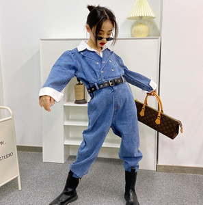 Fashion Girls denim jumpsuits 2021 new children Shirt Neck Splicing High Waist jumpsuit kids loose cowboy overall A5573