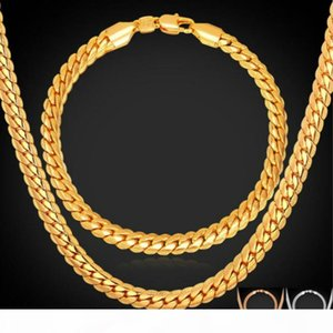Gold Rose Gold Color Chain For Men Necklace Bracelet Set Hot Fashion Men Jewelry Sets Wholesale Free Shipping
