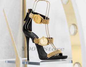 Kadınlar pompaları 2020 Yeni Metal Deri Kadınlar Sandalet ile Altın İzle Peep-Toe İnce Ayakkabı Neon Yeşili Gladyatör Roman Yüksek Topuklar