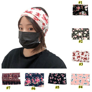 Women Elastic Printed Anti Ear Headbands with Mask Sports Yoga Exercise Soft Button Hair Lace for Girls Gift Hair Accessories OWA1688
