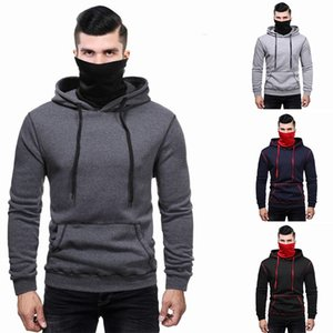 Mens Sport Hoodies With Mask Panelled Long Sleeve Hooded Pocket Sweatshirt Female Skateboard Clothing