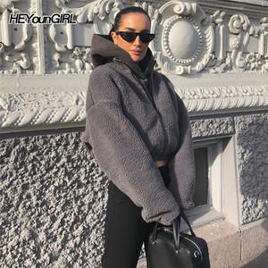 Heyoungirl Lambswool Rahat FUAX Kürk Mont Kadınlar Sıcak Sonbahar Gri Kırpma Ceket Moda Uzun Kollu Palto Kadın Streetweart201030