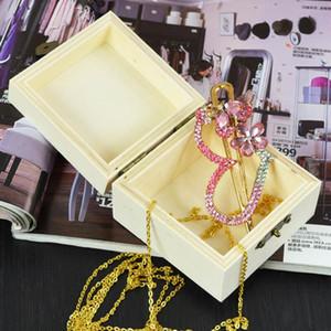 Деревянные ремесла Вуд Jewelry Box 8.2cm квадратной формы Mud База Арт Декор Дети Kid Детские игрушки DIY OWD2589