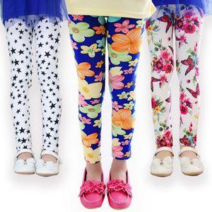Spring Girls Floral Leggings Print Silky Sport Yoga Pants Children Clothing Skinny Slim Pants Bootcut Stretchy Pants 34 Styles