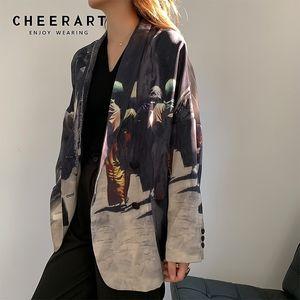 CHEERART Tasarımcı Kadınlar Blazers Ve Ceketler Patchwork Artı boyutu Blazer Gevşek High Street Moda Sonbahar İlkbahar Blazer 201.004 yazdır