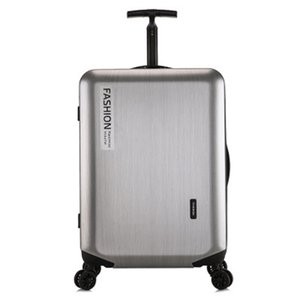 Brushed silver luggage,universal wheel trolley,scroll Suitcase, password bag abs+PC valise Travel Bags LJ201118