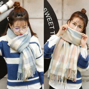 The new Korean version of the plaid woolen fringed scarf women winter thickened long shawl students warm scarf