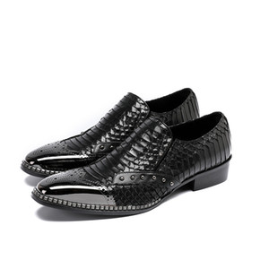 Fashion Embossed Leather Men Dress Shoes Rivet Slip On Slippers Luxury Elegant Round Toe Black Causal Loafers