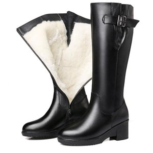 CHAISHOU winter mid-calf boots for women genuine leather high heel plus velvet boots thick with warm fur one snow