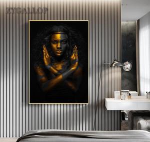 Dekorasyon Kadın Sanat Afrika Altın Duvar Odası Boyama Tuval Cuadro Resim Sergisi Yaşayan Kadın Resimleri Ana Siyah Posterler Için Modern Jllek