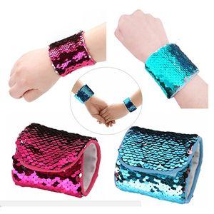 Mermaid Sequin Bracelet Wristband Cuff Sequins Bracelets Women Charm Jewelry Girl Wedding Favors Mermaid Bracelet Wristband Bangle A-0503