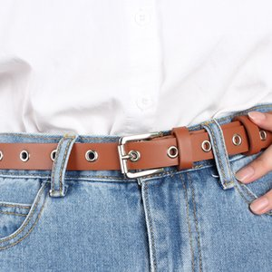 Female Faux Leather Hollow Rivets Belt For Jeans Square Pin Buckle Waist Belts cinturones para mujer Casual 2.5cm Thin Waistband