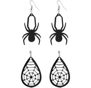 New 2020 Nightclubs exaggerated oversized punk fashion personality matte black spider earrings earrings matte gold Black earrings